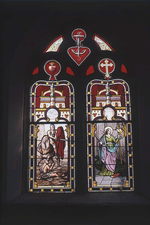 Ensemble de trois verrières figurées : Charité de saint Martin, sainte Marguerite d'Antioche, ange, Notre-Dame de Lourdes (baies 0, 1 et 6)