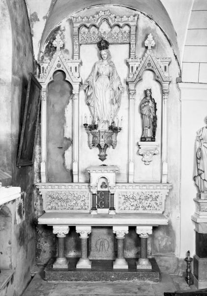 Autel, retable (autel secondaire, autel table, retable architecturé) : de l'Immaculée Conception