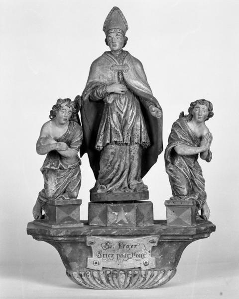 Bâton de procession : saint Léger entre deux anges