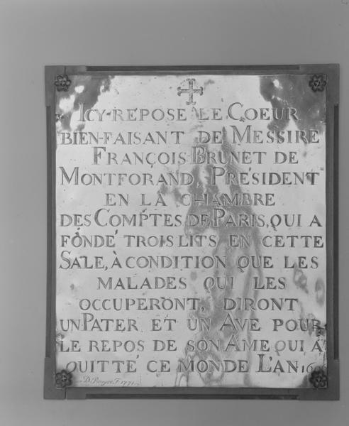 Plaque funéraire (8), du coeur de François Brunet de Montforand