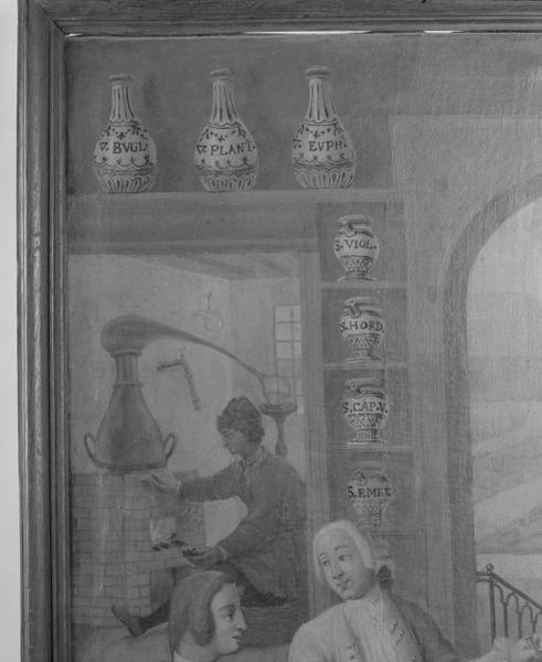 Tableau : L'apothicaire beaunois Claude Morelot dans une officine imaginaire (numéro d'inventaire : 87 GHD 0717)