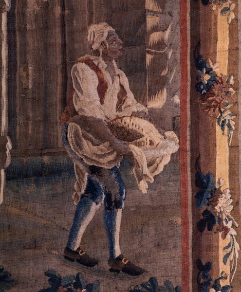 5 pièces murales (tenture) : cuisinier, fermière, jeu de Colin Maillard, tir à l'arc et saut à la corde, scène champêtre avec lavandières, numéro d'inventaire : 87 GHD 577, 578, 581, 582, 586