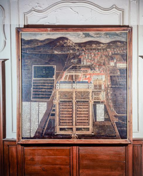 tableau : 'Scituation de l'Hôpital de Ste Reyne, ses batiments faits et à faire'