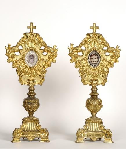 Ensemble de quatre reliquaires des saints Pierre, Paul et du Saint Sépulcre et de saints Jean, Martin, Thibault et autres