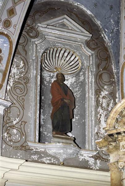 Quatre peintures en trompe-l'oeil : Vierge de douleur, saint Jean, Christ aux liens et saint Nicolas