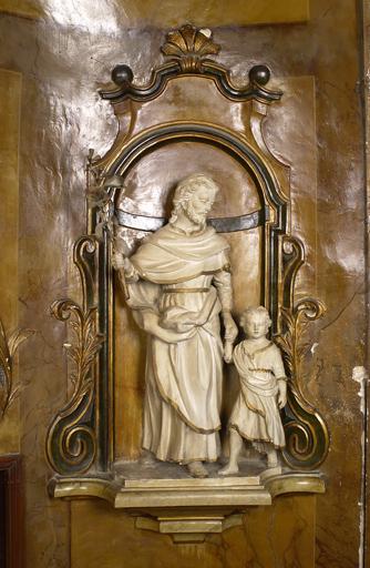 Groupe sculpté : Saint Joseph et Jésus enfant