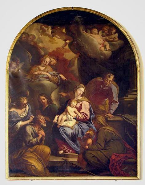 Tableau : La Sainte Famille avec saint Jean-Baptiste et ses parents Elisabeth et Zacharie