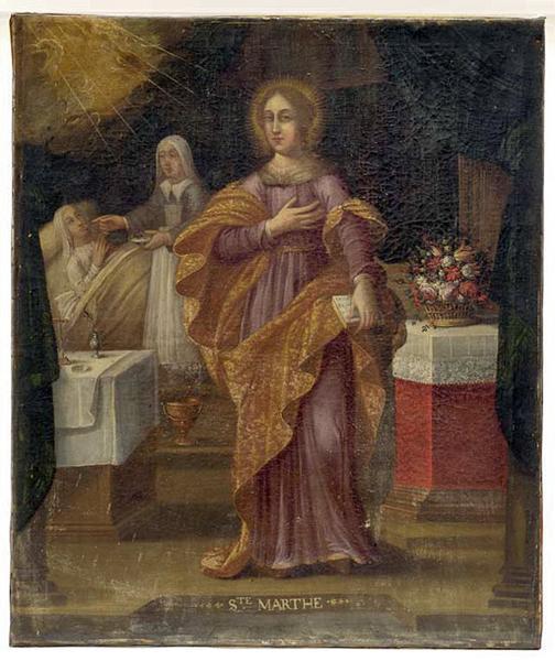 Tableau : Sainte Marthe devant une soeur au chevet d'une malade