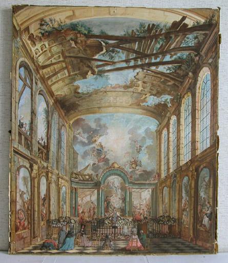 Tableau : intérieur de la chapelle de l'hospice des Enfants-Trouvés à Paris