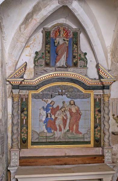 Retables en pendant, le droit orné de la Sainte Famille et d'une Vierge à l'Enfant, le gauche du Baptême du Christ et de sainte Catherine