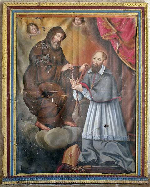 Tableau : Saint François de Paule donnant le cordon de son Ordre à saint François de Sales