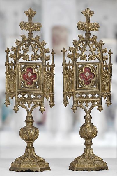 Paire de reliquaires néo-gothiques