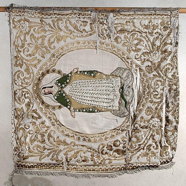 bannière de procession : Immaculée Conception et sainte Catherine