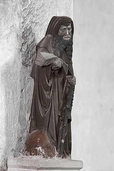 groupe sculpté : saint Antoine ermite