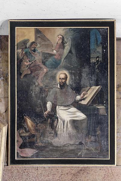 Tableaux en pendant : Saint François de Sales écrivant l'Introduction à la vie dévote et Saint Charles Borromée secourant les pestiférés de Milan