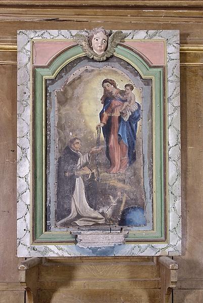 Retable et tableau d'autel : Donation du Rosaire à saint Dominique