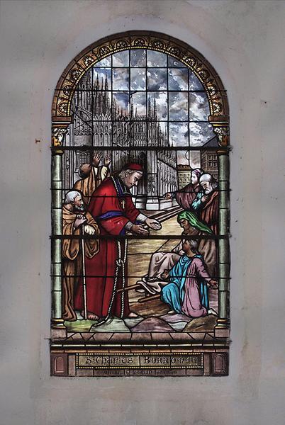 Ensemble de quatre verrières : Immaculée Conception, Education de la Vierge et saint Jean-Baptiste, saint Charles Borromée, saint Adolphe et sainte Pauline