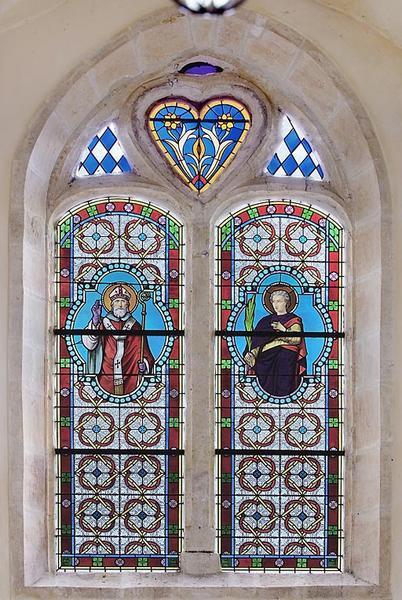Verrière : saint Martin, saint Abdon et motifs décoratifs