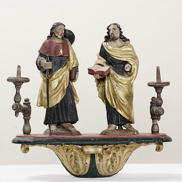 bâton de procession : saint Jacques et saint Philippe