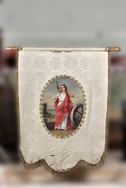 Bannière de procession : Immaculée Conception et sainte Catherine d'Alexandrie