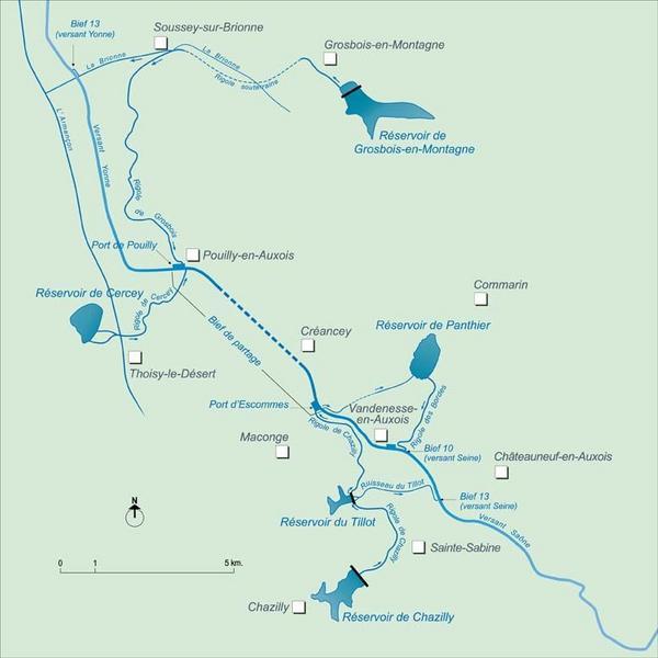synthèse sur les ouvrages liés à l'alimentation en eau du canal de Bourgogne (canal de Bourgogne)