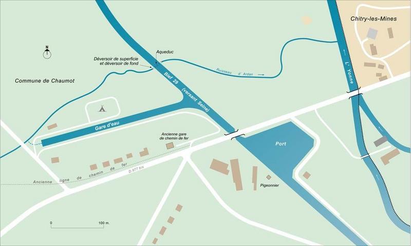 port de plaisance de Chitry-les-Mines ; gare d'eau de Chaumot (canal du Nivernais)