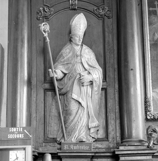 2 statues (en pendant, petite nature) : Saint Ambroise, Saint Augustin