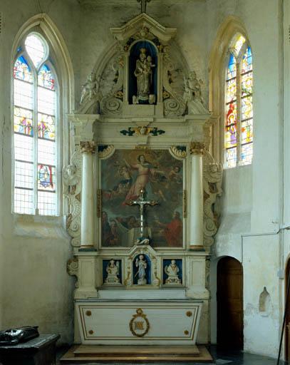 autel secondaire, retable architecturé de la Vierge