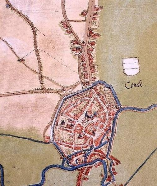 Château de Bailleul (ou hôtel de Bailleul), puis musée communal et bibliothèque communale, maisons ; Place d'Armes, actuellement place Pierre-Delcourt ; Collégiale Notre-Dame ; Place Verte