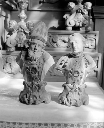 bustes-reliquaires : saint Vincent et saint Ambroise (?)