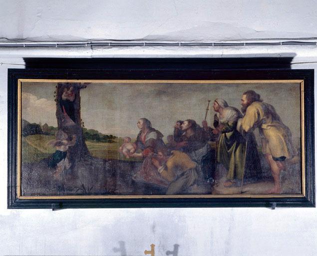 tableau : Paysans en adoration devant une statue de la Vierge à l'Enfant découverte dans un tronc d'arbre