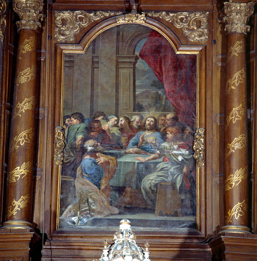 tableau d'autel : La Cène (maître-autel, retable architecturé)