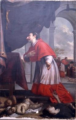 Tableau : saint Charles Borromée priant pour la cessation de la peste ou saint Charles Borromée priant pour les malades de la peste