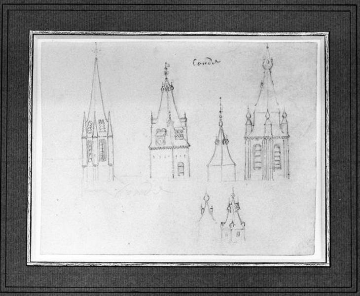 Ensemble d'édifices derrière façade (corps de garde, beffroi, maisons) ; Collégiale Notre-Dame