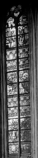 Verrière historiée de style Art Déco : scènes de la Vie de la Vierge et de l'Enfance du Christ (baie 11)