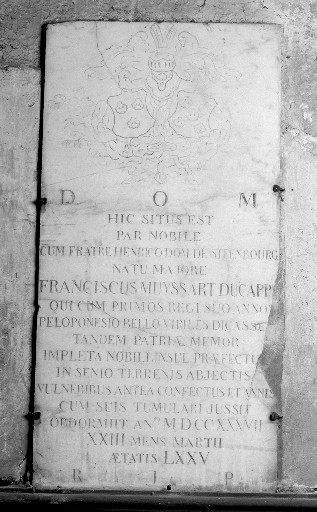 Plaque funéraire de François Muyssart du Cappe