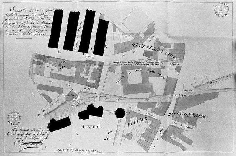 Moulin à farine (moulin à eau, moulin seigneurial) dit moulin de Croy, actuellement restaurant ; Couvent de tertiaires régulières franciscaines, dit couvent des soeurs grises, puis théâtre ; Série de 3 maisons