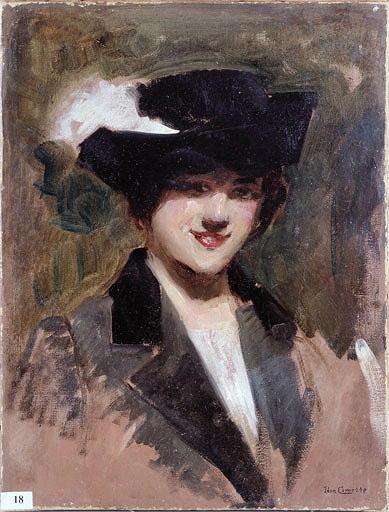 Tableau : Femme au chapeau noir