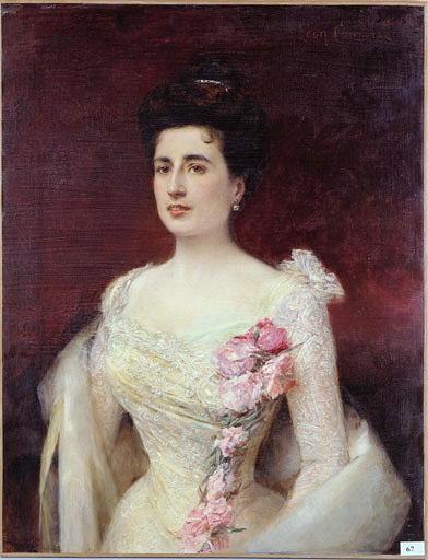 Tableau : Portrait de femme en tenue de bal
