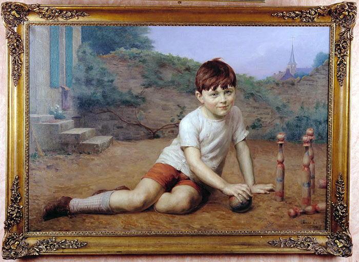 Tableau : Jeune garçon jouant aux quilles