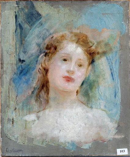 Tableau : Etude de tête féminine sur fond bleu