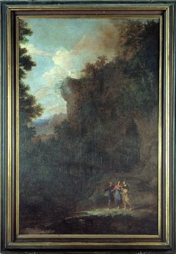 2 tableaux : Vierge à l'Enfant et sainte Catherine de Sienne ou sainte Rose de Lima (?), les Pélerins d'Emmaüs