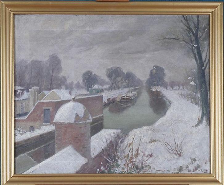 Tableau : Le Canal de Mons sous la neige (L'Escaut à Condé, effet de neige)