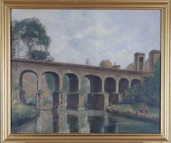 Tableau : Le Long Pont (Condé, les remparts)