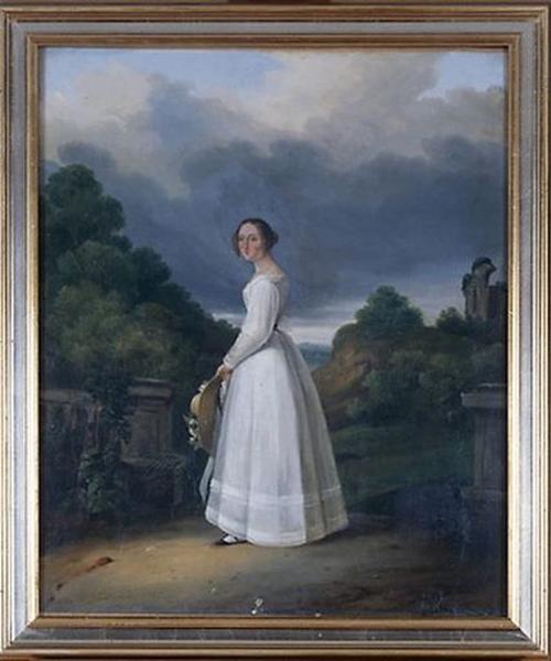 Tableau : Portrait d'une jeune femme dans un parc