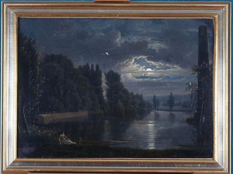 Tableau : La Seine aux environs de Bougival (Paysage au clair de lune)