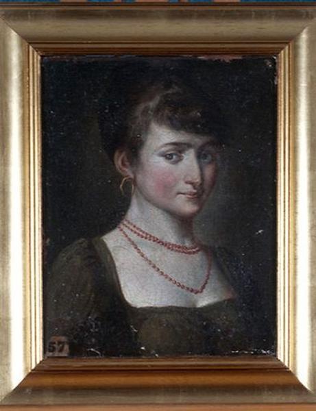 Tableau : Portrait de jeune fille avec un collier, en buste