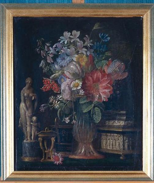 Tableau : Fleurs et accessoires d'art