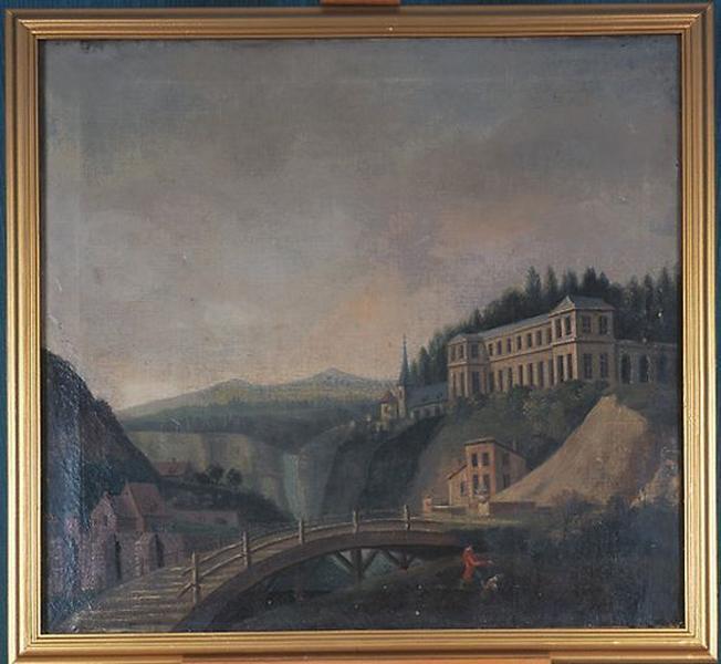 Tableau en dessus-de-porte : Paysage composé avec cascade