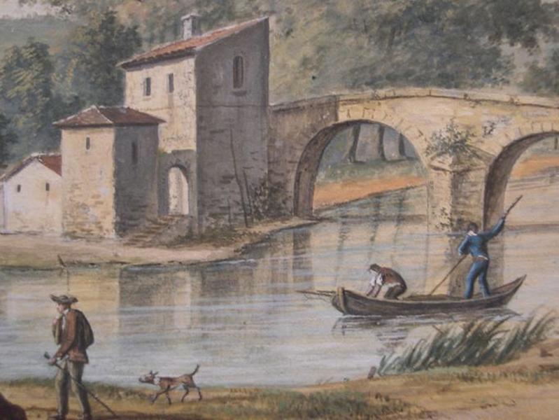 Tableau : Paysage au pont de pierre